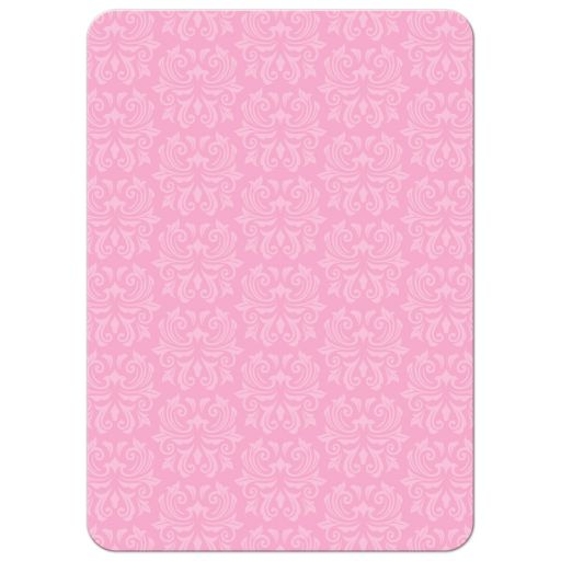 Ornate damask pattern, back of girl's pink First Holy Communion or Confirmation invitation.
