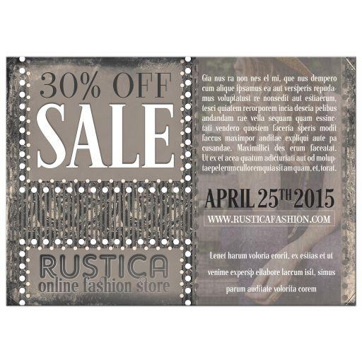 Rustic Grunge Shop Sale Flyer Marketing flyer