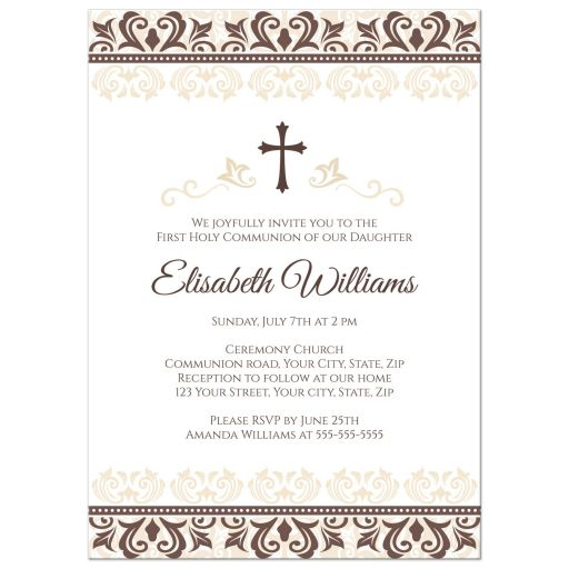 Elegant, brown and cream colored damask borders First Holy Communion or Confirmation invitation
