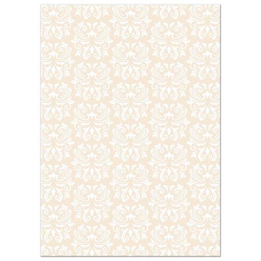 White and ivory damask pattern, back of communion invite.