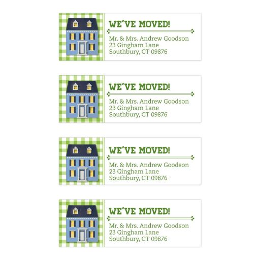 Moving Address Labels - Green Gingham Dollhouse