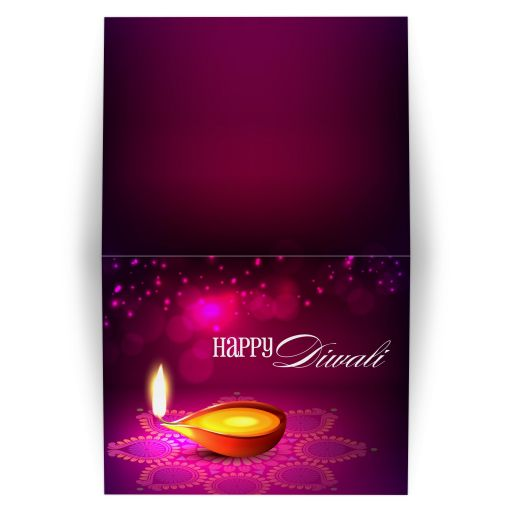 Greeting Card - Bokeh Lights Diwali Lamp