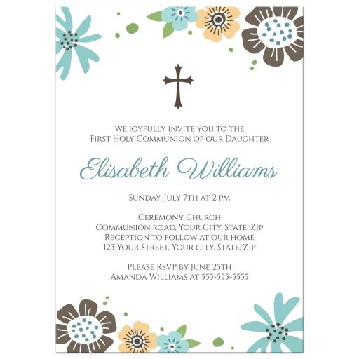 Cute, pretty blue and brown flowers First Holy Communion or confirmation invitation for girls.