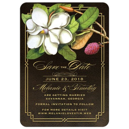 Elegant Southern Magnolia Save the Date Cards front