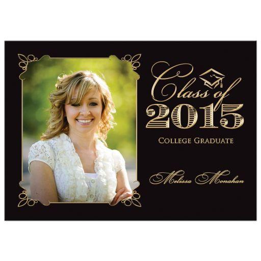 Elegant black and gold photo graduation invitation