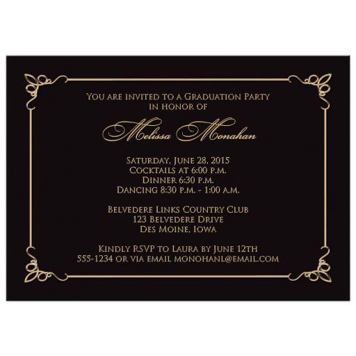 black and gold grad party invite