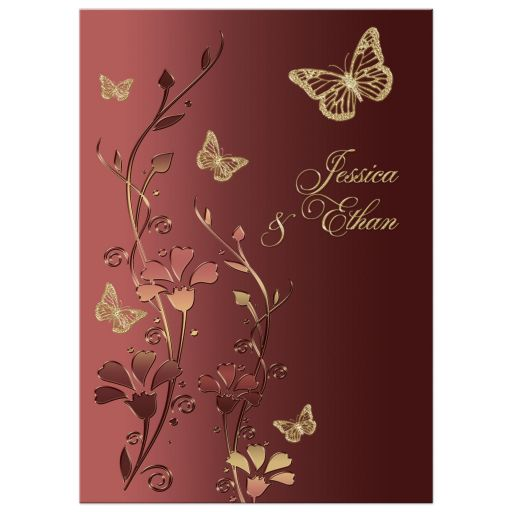 Wedding Invitation Marsala and Gold Flowers and Butterflies