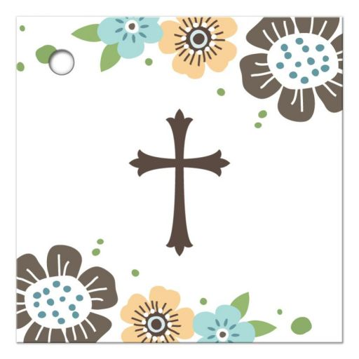 Brown and blue whimsical flowers and cross favor thank you tag