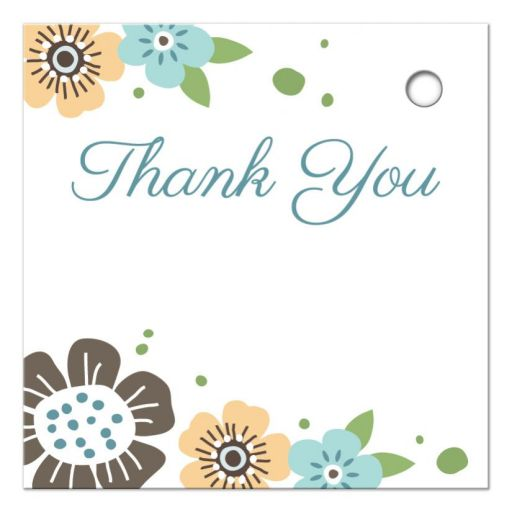 Pretty blue and brown flowers, back of elegant favor thank you tag with christian cross