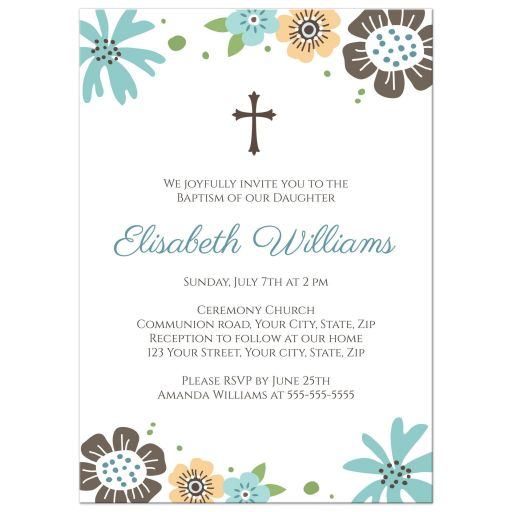 Cute, neutral baptism or christening invitation with whimsical flowers and brown cross