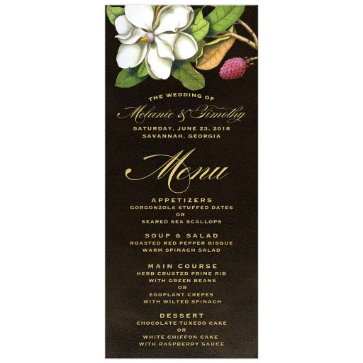 Elegant Vintage Southern Magnolia Wedding Menus front