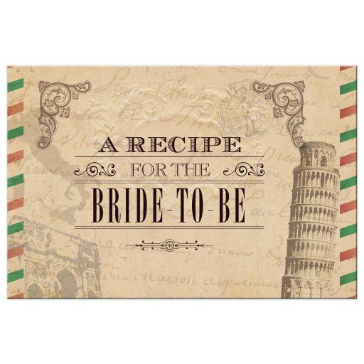 Recipe Card - Antique Airmail Italian Bridal Shower