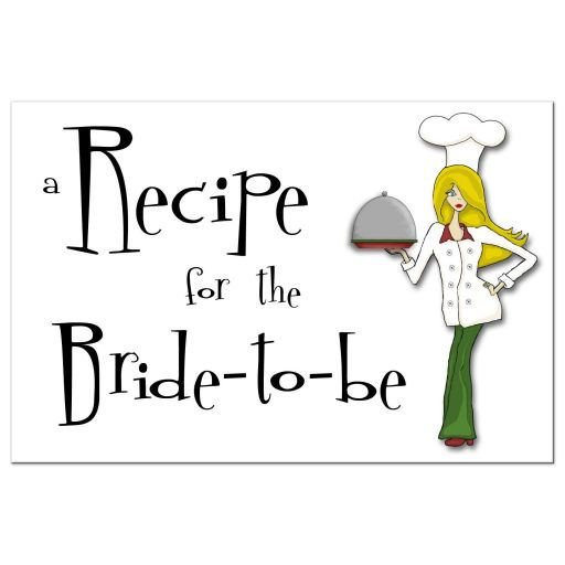 Retro Inspired Cute Chef With Blonde Hair Bridal Shower Recipe Card