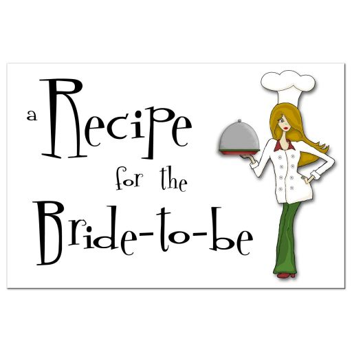 Retro Inspired Cute Chef With Brown Hair Bridal Shower Recipe Card