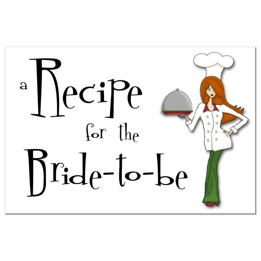 Retro Inspired Cute Chef With Red Hair Bridal Shower Recipe Card