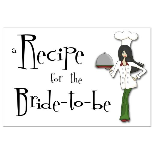 Retro Inspired Cute Chef With Black Hair Bridal Shower Recipe Card