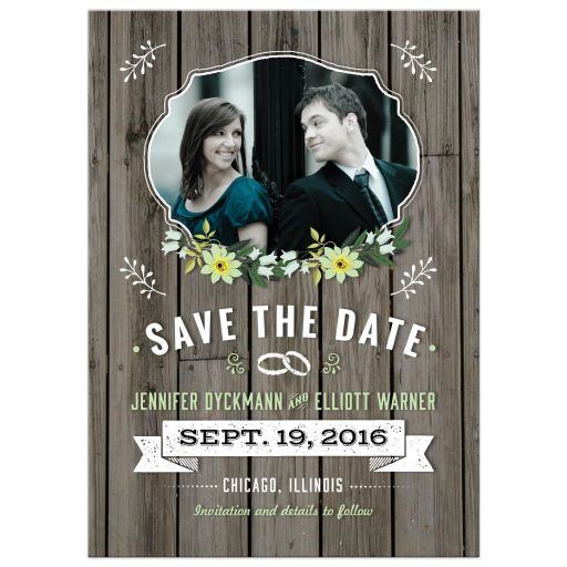 Green Retro Rustic Wood Floral Wedding Photo Save the Date Card
