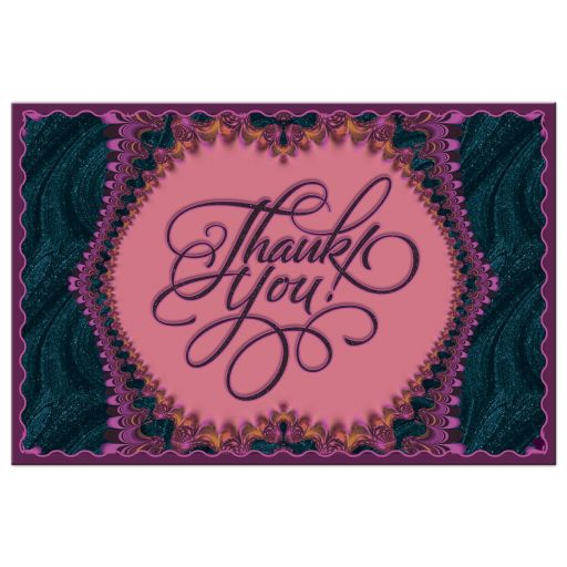 Midnight Purple Blue Frilly Thank You Postcard