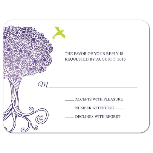 Bat Mitzvah Reply Card - Purple Ornate Tree of Life with Dove RSVP