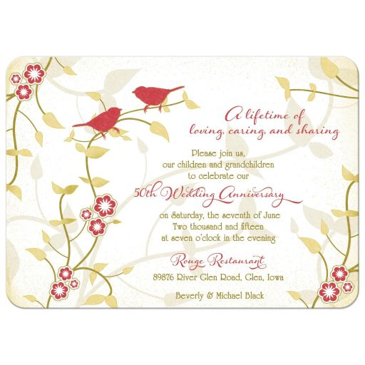 Red and gold birds, flowers, leaves nature inspired golden 50th wedding anniversary invitation front