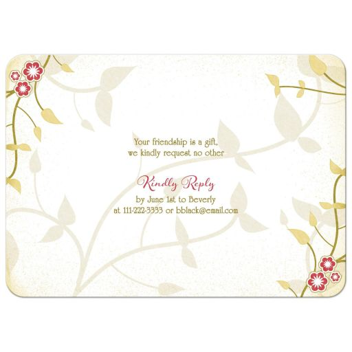 Red and gold birds, flowers, leaves nature inspired golden 50th wedding anniversary invitation back