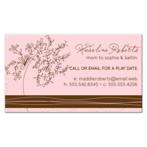 Pink & Brown Floral Trendy Mommy Calling Cards front