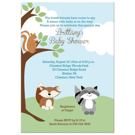 Enchanted Forest Woodland Baby Shower Invitation