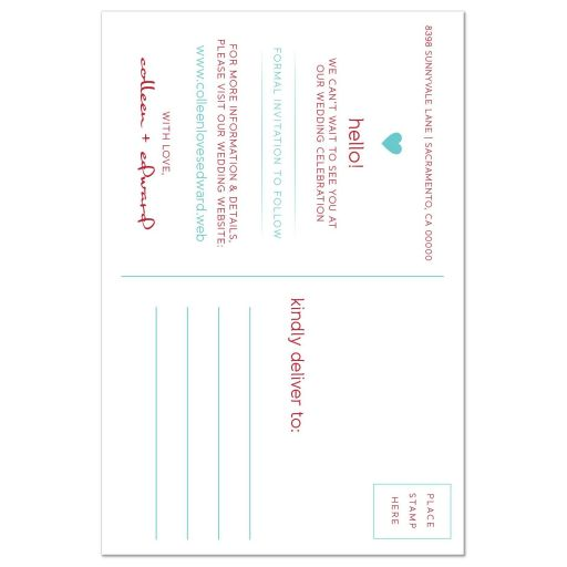 Red & Turquoise Modern Blossom Photo Save The Dates back