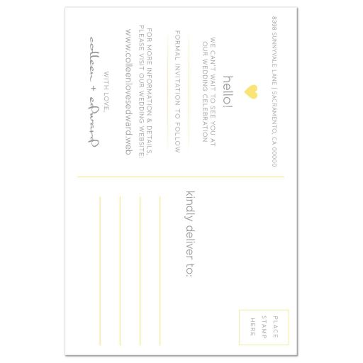 Yellow & Gray Modern Blossom Photo Save The Dates back