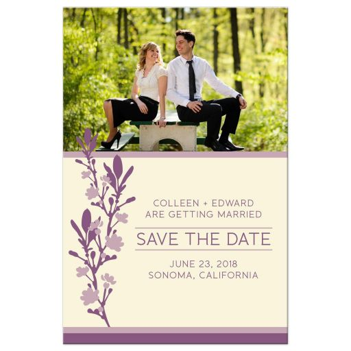 Plum & Ivory Modern Blossom Photo Save The Dates front