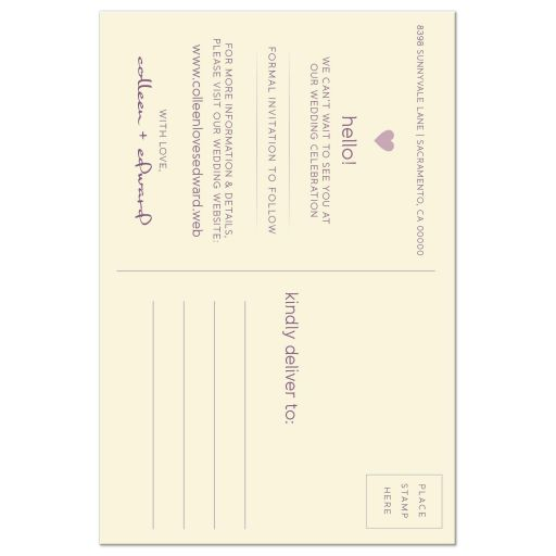 Plum & Ivory Modern Blossom Photo Save The Dates back