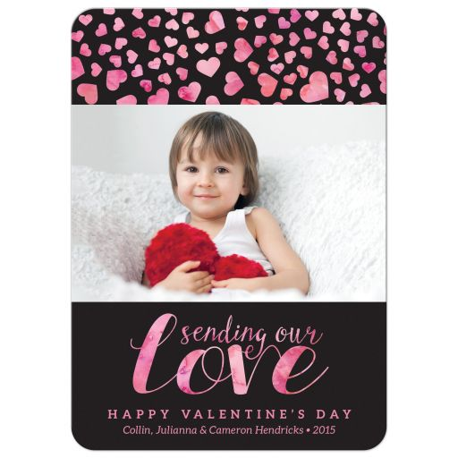 Hearts Aflutter Personalized Valentine's Day Photo Cards front