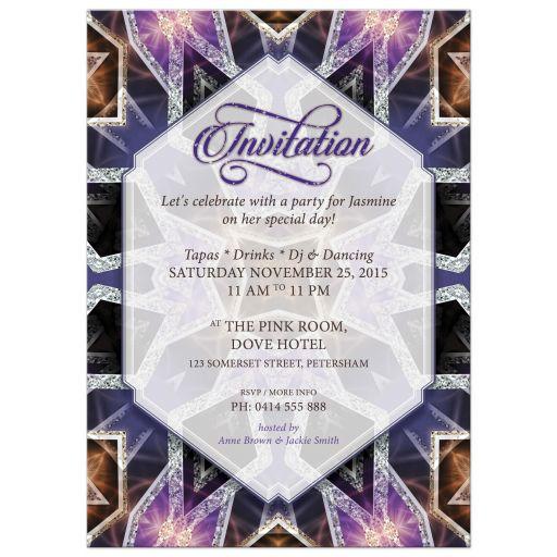 Crystal Purple Pink Birthday Invitation