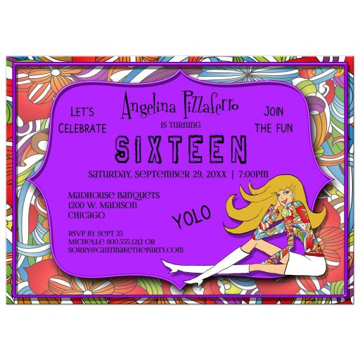 Funky Purple And Colorful Abstract Milestone Birthday Invitation