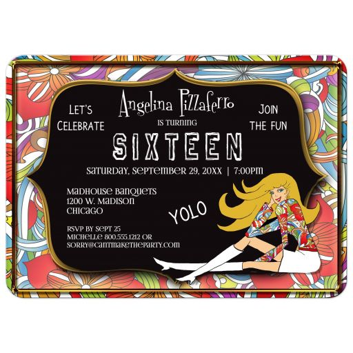 Funky Black And Colorful Abstract Milestone Birthday Invitation