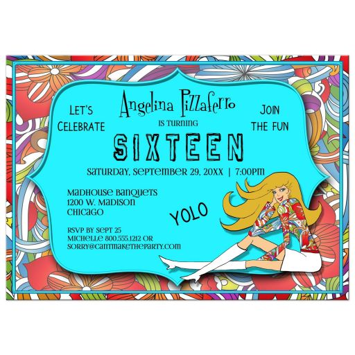Funky Teal And Colorful Abstract Milestone Birthday Invitation