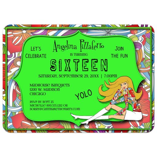 Funky Green And Colorful Abstract Milestone Birthday Invitation