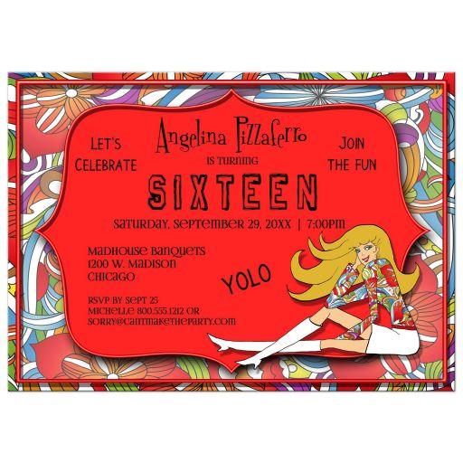 Funky Red And Colorful Abstract Milestone Birthday Invitation