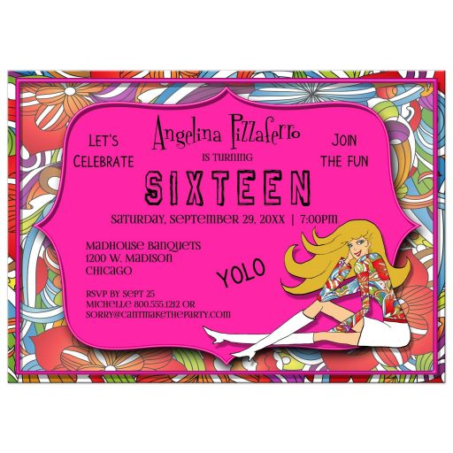 Funky Pink And Colorful Abstract Milestone Birthday Invitation