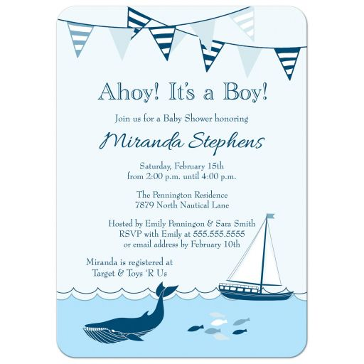 Nautical Ahoy it's a Boy baby shower invites