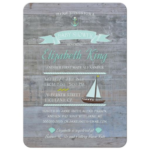Rustic nautical baby shower invites