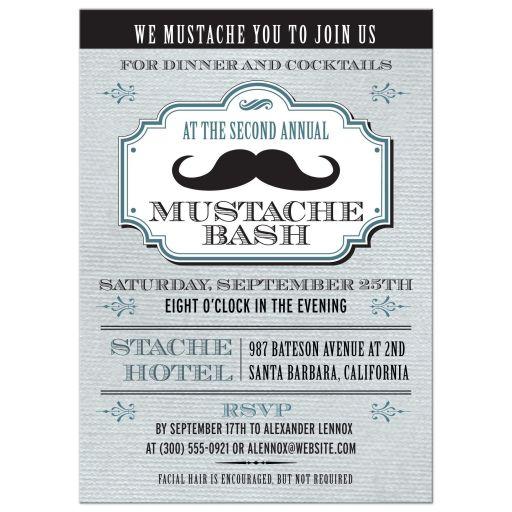Party Invitation - Vintage Blue Mustache Bash