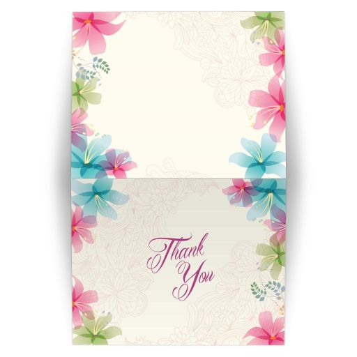 Wedding Thank You Card - Tropical Floral Soft Pink and Teal Orchids