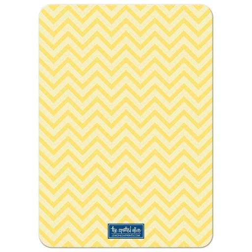 Yellow Chevron with Gray & Blue Accents Baby Shower Invitations back