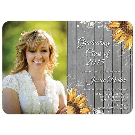 Rustic sunflower photo graduation party invite