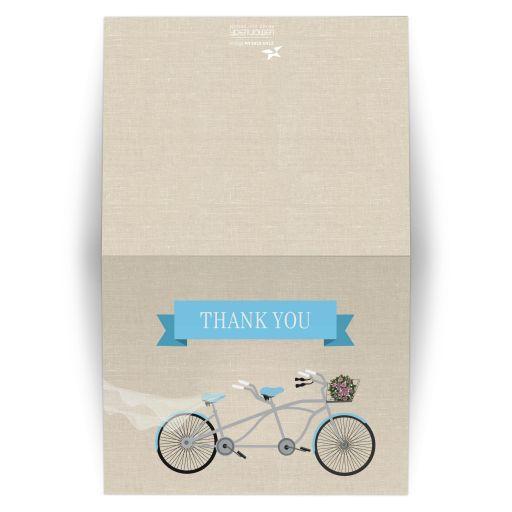 Thank You Card -  Blue Tandem Bicycle Wedding