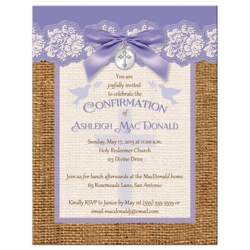 purple and ivory confirmation invitation