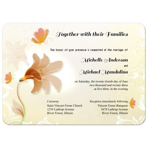 Elegant Blush Ombre Lily And Butterflies Special Event Invitation
