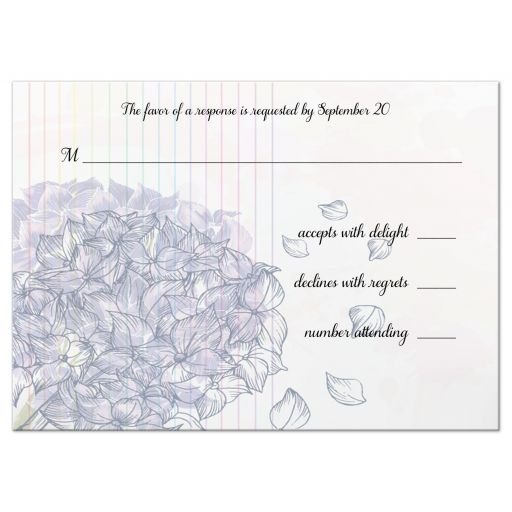 Watercolor Purple Hydrangea Formal Wedding Response Card