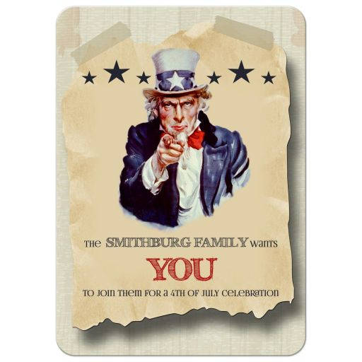 Vintage Hipster Fourth Of July Celebration Custom Invitation